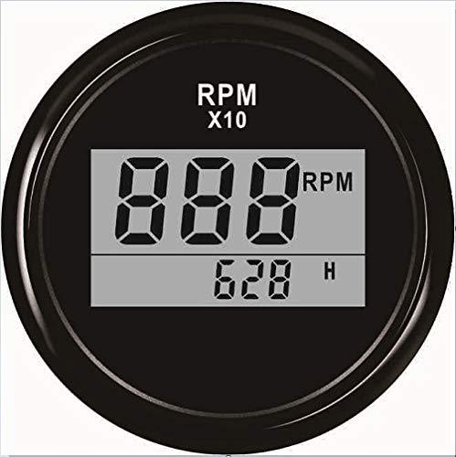 L.Z.HHZL Cuentakilómetros Velocímetro 52mm Calibre tacómetro Digital del Coche del Carro del Barco Tacho con Contador horario 0-9990RPM Impermeable (Color : BN, Size : Gratis)