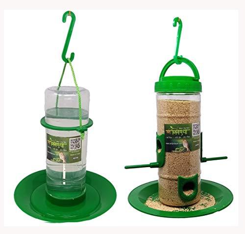 Amijivdaya Medium Bird and Water Feeder Combo (Green, Transparent)