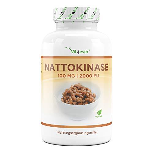 Nattoquinasa - 180 cápsulas de 100 mg cada una (20.000 FU/g) - Suministro para 6 meses - Probado en laboratorio - Altamente dosificado - Vegano - Hecho de soja sin OMG - Sin aditivos indeseables