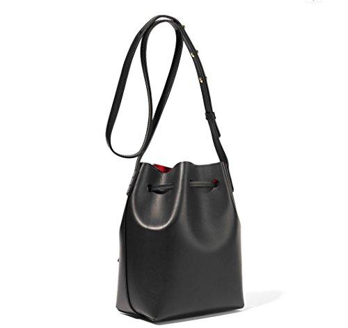 Meoaeo Leder Bucket Bag Mit Einfachen Hand Und Schulter Die Schwarze Version