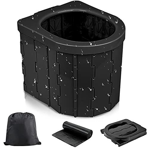 Yarrashop Portable Toilet Camping Toilet - Portable Toilet for Camping, Outdoor Camping Accessories Folding Toilet Commode Car Toilet Travel Potty for Hiking, Boating, Traffic jam (Black)