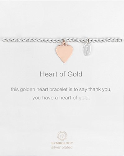 SYMBOLOGY Silver Sentiment Heart of Gold Bracelet with Love Heart Symbol Charm. Silver Lining Collection, for Your (Gift Boxed) 820