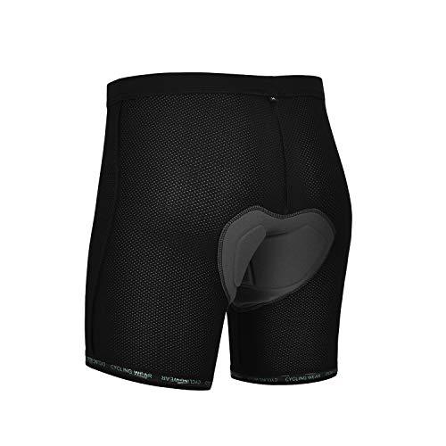DEALYORK Men Cycling Underwear 3D Padded Bike Shorts MTB Liner Shorts Bike Shorts Men High Waist Ergonomic Design Black L