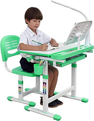 Studie Schreibtisch Stuhl Set Kids Schreibtisch, Höhenverstellbarer Kinder Schreibtischstuhl mit LED-Lampe, Lesepult und Tier-Sitzpolster (Grün) 922...