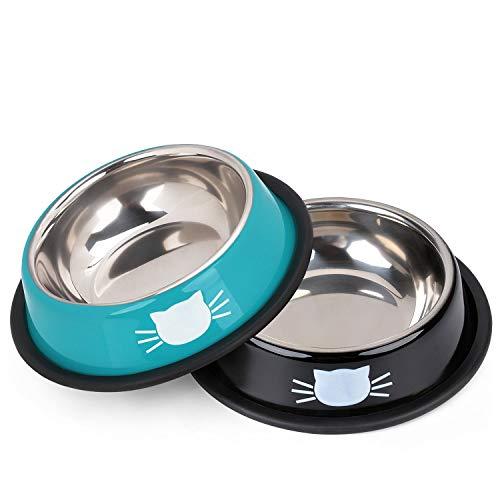 Legendog 2Pcs Cat Bowl Pet Bowl Stainless Steel Cat Food Water Bowl Non-Slip...