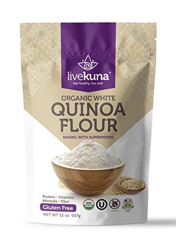 Livekuna Premium Organic Quinoa Flour | 100% Natural Non-GMO Quinoa Flour | Rich In Protein & Fiber | Gluten-Free All-Purpose Wheat Flour Alternative For Baking, Cooking, Keto & Paleo Diets | 32 oz