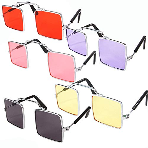 DPLUS Pet Goggles Sunglasses - Pack of 5 Latest Fashion Clear Square Cat/Dog Goggles - Classic Retro Circular Metal Circle Eye-Wear for Cat,Chihuahua or Small Dogs (Clear Square Goggles)
