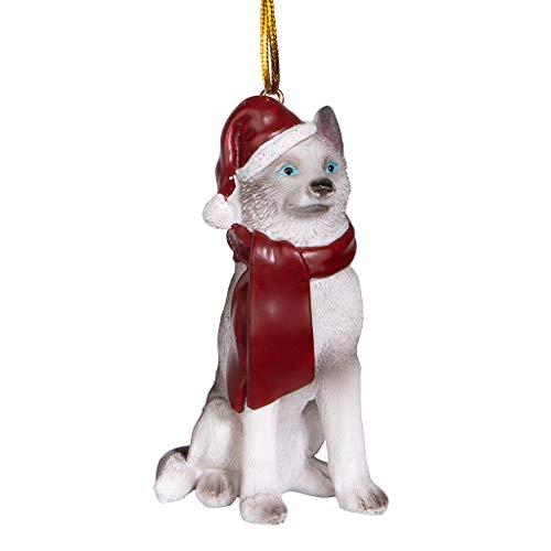 Design Toscano Enfeite siberiano Husky Holiday Dog Árvore de Natal Decorações de Natal, 7,6 cm, colorido