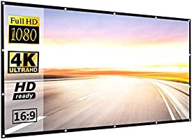 Projector Screen 120 inch 16:9 HD Foldable Anti-Crease Portable Projection Movies Screen for Home Theater Outdoor Indoor...