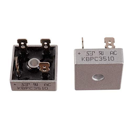 BOJACK KBPC3510 Diodi raddrizzatori a ponte 35 V 1000 V Assiali KBPC3510 Diodi elettronici a silicio elettronico a onda piena da 35 Amp 1000 Volt (confezione da 2 pezzi)