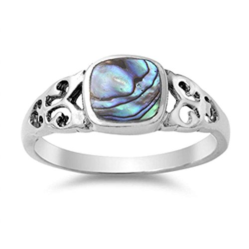 Oxford Diamond Co Celtic Design with Simulated Abalone Shell .925 Sterling Silver Ring Size 7