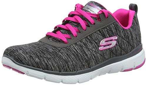 Skechers Flex Appeal 3.0-Insiders, Zapatillas Mujer, Gris (BKHP Black & Gray Mesh/Black Trim), 38.5 EU