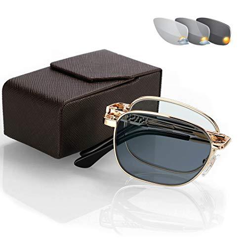 Gafas de Sol de Lectura,Elegante y Anti-Fatiga Plegable para Leer Bolsillo Lector...