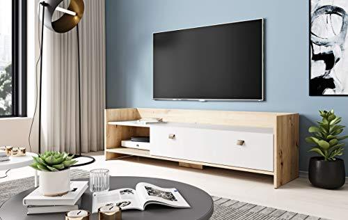 3xeLiving Elegante Soporte de TV Pembak, 140 cm, Roble Hecho a Mano / Blanco Mate