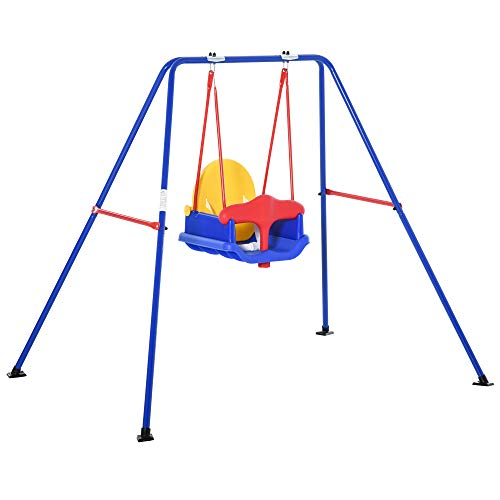 Outsunny Metal Toddler Swing Set with Baby Seat Safety Harness Backyard Playground Outdoor Garden Playset for Kid Age 3-36 Months