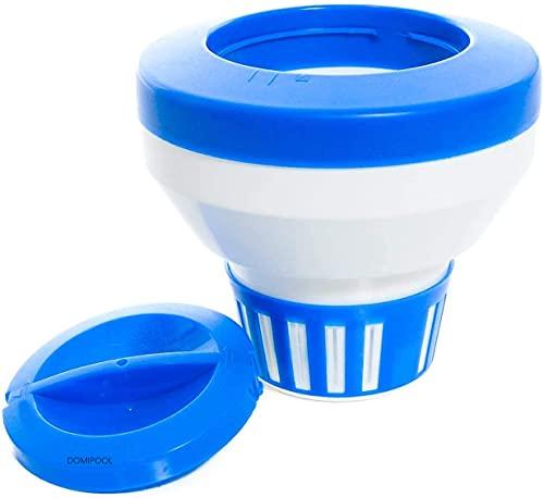 Flutuador de cloro/bromo para piscina SPA, grande dispensador químico flutuante para comprimidos de cloro de 7,62 cm, melhor clorador de piscina com 15 saídas de fluxo para banheira de hidromassagem de piscina interna e externa (20,32 cm)