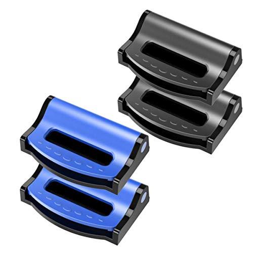 Zuzer 4pcs Clip de Cinturón de Seguridad,Clip para Cinturón de Coche Hebilla del Cinturón de Seguridad Negro Azul Ajustador de Cinturón de Seguridad Mejora la Comodidad Relaja los Hombros y El Cuello