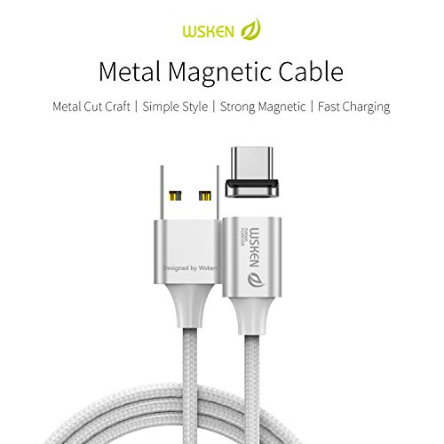Wsken Magnetic USB Type C Cable – Android Charger Fast Charging 3ft Charge Cord for Galaxy S8, S8+, MacBook, Nintendo Switch, Sony XZ, LG V20 G5 G6, HTC 10,Google Pixel, Nexus 6P (Silver X2 Model)