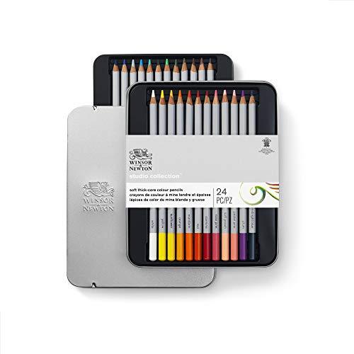 Winsor & Newton 490013 präzisions  Künstlerfarbstifte im Set, 24 lebendige Farben, hochwertige Künstlerpigmente für farbkräftiges Malen in mehreren Schichten, höchste Farbbrillanz, bruchsicher