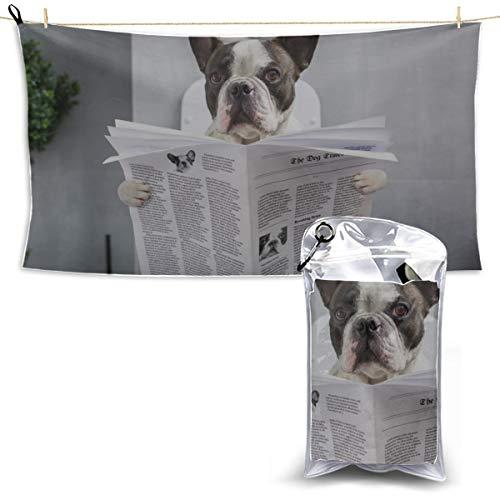 YUMOING Toilet Bulldog Watch Newspaper Funny Beach Towel Towel Camp Boys Beach Towels for Kids Microfiber Towel Medium 27.5'' X 51''(70 X 130cm) Best for Gym Travel Camp Yoga Fitnes