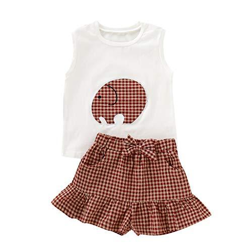 Moneycom❤Toddler Infant Kids Kids Baby Girls Cartoon Print Tops + Plaid Pants Outfits Set Blanc(18-24 Mois)
