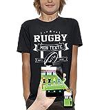 PIXEL EVOLUTION T-Shirt 3D Rugby Texte Personnalisable en Réalité Augmentée Enfant - Taille 12/14 Ans - Noir
