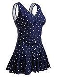 Summer Mae Damen Badekleid Plus Size Geblümt Figurformender Einteiler Badeanzug Swimsuit Navy Polka Dot (EU Size 40-42)