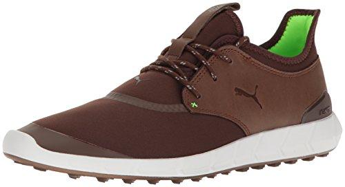 PUMA Men's Ignite Spikeless Sport Golf Shoe, Chestnut-Green Gecko, 10 Medium US