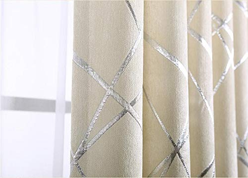 Preferied Blackout Jacquard Curtains for Living Room Modern Luxury Blind Fabric Stripe Drape Bedroom Window (Color : Ivory, Size : Hooks Top)
