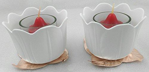 1a PartyLite - Votivkerzenhalter GARTENBLÜTEN, Paar - P92957 - H: 7cm - Keramik weiß - Metall kupfern - Glas