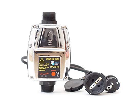 Tazado Leistungsstarke Pumpensteuerung PS-01C (mit 2X Kabel) für Pumpe Gartenpumpe Hauswasserwerk
