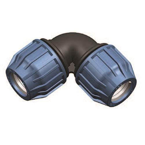 Elysee PP-Fitting, Klemmkupplung, Winkel 90° für PE-Rohr, 16mm - 50mm, DVGW, Trinkwasserzertifiziert, Größe: 50