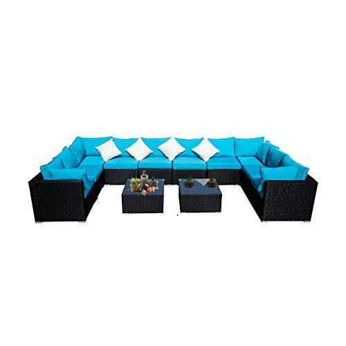 KOOLWOOM Outdoor Patio Furniture Set,Sectional Wicker Sofa Washable Waterproof PE Cushions,Backyard,Pool (12, Blue)