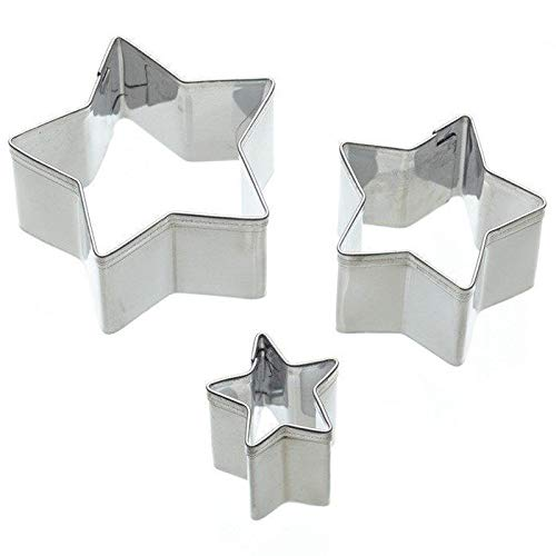 KitchenCraft Sweetly Does It Star Fondant Cutter Set, Stainless Steel, 3 Pieces