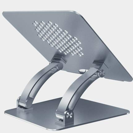 Junqin laptop stand, ergonomic desktop aluminum computer stand, adjustable laptop riser with hot air holes, compatible with MacBook Air/Pro, Dell, HP, Lenovo multi-angle stand, 10-17.3 inches-Gray