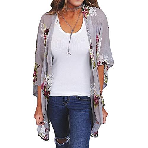 ECOMBOS Damen Florale Kimono Cardigan - Chiffon Tops Cardigan Bluse Shawl Sommer Beachwear Cover up Leichte Boho Strand Jacke (Grau-b, M)