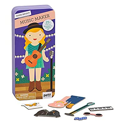 Petit Collage Magnetic Dress Up, Music Maker – Magnetic Game Board with Mix and Match Magnetic Pieces, Ideal for Ages 3+ – Includes 2 Scenes and 25 Creative Magnetic Pieces by Petit Collage