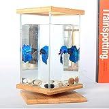 LXXL Starter Kit per Acquario per acquari con Coperchio Kit per Acquario a LED Mini Serbatoio per Pesci Home Soggiorno Ufficio Smart Acquario Ecologia anfibia creatività Cilindro Vuoto