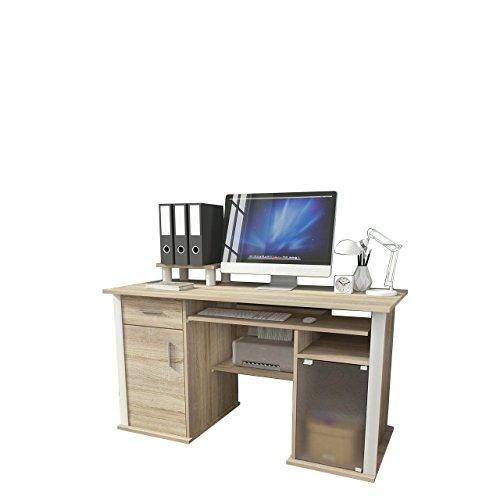 Mirjan24 Schreibtisch Spectrum Arbeitstisch mit Tastaturauszug, Schublade Computertisch Laptoptisch Bürotisch Büromöbel (Sonoma Eiche)