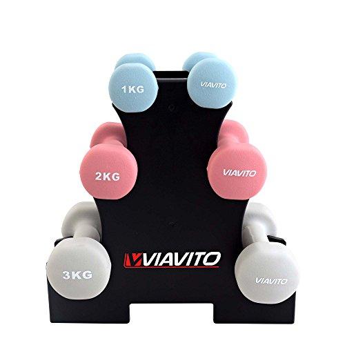 Viavito Unisex's 12kg Dumbell Set with Stand, Black, 12 kg