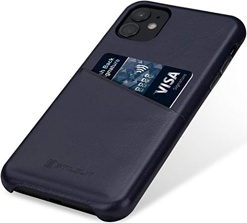 StilGut Handyhülle kompatibel mit iPhone 11 Hülle mit Kartenfach, Hülle aus Leder, Kartenhülle - Blau