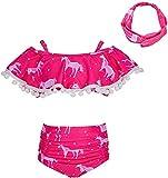 Beinou - Costume da bagno da ragazza, 2 tigli, bikini, tankini con volant Unicorno rosa. a...