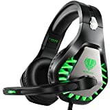 BUTFULAKE Stereo Gaming Headset for PS4 Xbox One Nintendo Switch, Noise Cancelling 3.5mm Wired Adjustable Over-Ear with Mic, Volume Control and LED Lights for Laptop PC Mac iPad Smartphones (Green)