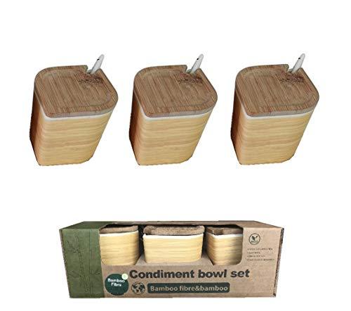 Saliera da Cucina Bambu ♻ 3 Contenitori in Fibra di Bambù (Saliera, Pepiera e Zuccheriera) - Legno Ecologico Naturale - Portaspezie per Controsoffitto Con Coperchio e Cucchiaio - Eco, Bio