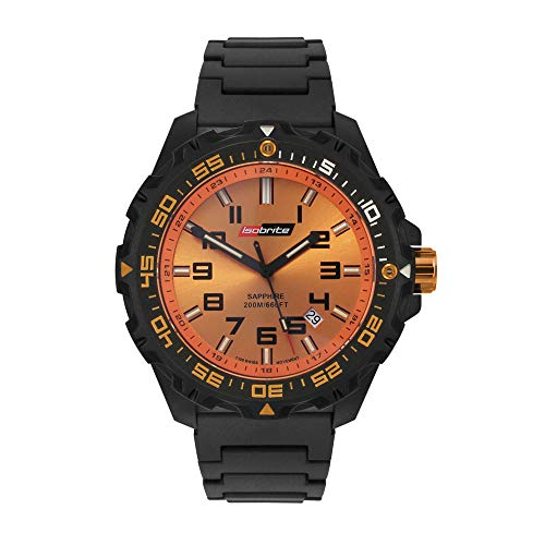 Isobrite ISO312 Valor Series Black and Orange T100 Watch Black Polyurethane Band