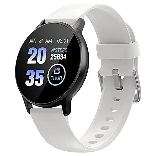 Reloj inteligente para hombre y mujer, reloj deportivo de pulsera 2,5D, pantalla táctil completa IP67, resistente al agua, Bluetooth, reloj deportivo (talla única, 05 blanco)