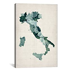 iCanvasART Watercolor Map of Italy by Michael Thompsett Canvas Art Print