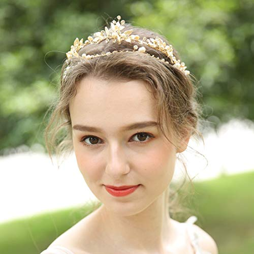 Braveamor Crystal Wedding Tiara For Bride Princess Crown Bridal Headpieces Prom Headbands With Genuine Freshwater Pearls And Ribbons (Gold)