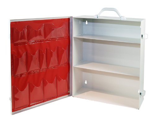 Medique Products First Aid Cabinet with Pockets Medical Storage with 3 Shelves  712MTM White Full Size