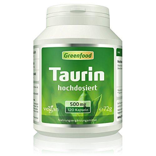 Taurin, 500 mg, hochdosiert, 120 Kapseln, vegan – natürlicher Muntermacher, leistungssteigernd, hält wach. OHNE künstliche Zusätze. Ohne Gentechnik. Vegan.